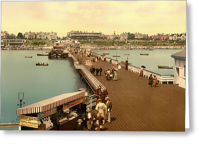 1890s Greeting Cards - On the Pier at Clacton-on-Sea England 1890s Greeting Card by Mountain Dreams