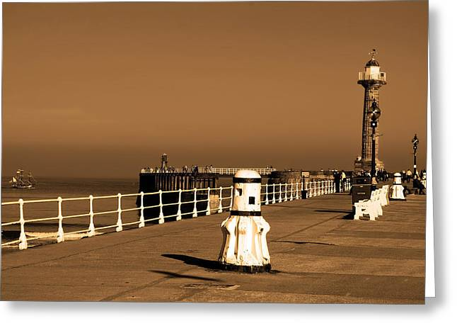 Whitby Greeting Cards - On the Pier at Whitby Greeting Card by Mountain Dreams
