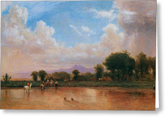 On The Plains Greeting Cards - On the Plains Cache la Poudre River Greeting Card by Thomas Worthington Whittredge