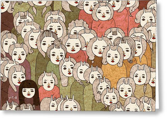 People Person Persons Greeting Cards - On the platform Greeting Card by Yoyo Zhao
