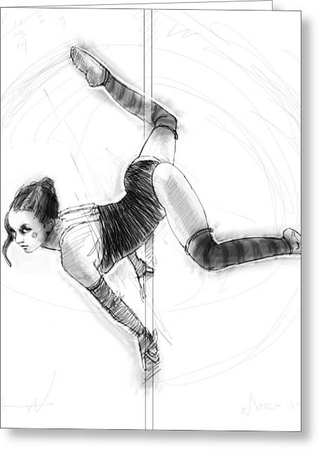 Ballet Dancers Drawings Greeting Cards - On the Pole Greeting Card by H James Hoff