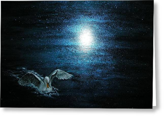 Water Fowl Greeting Cards - On the Pond at Midnight Greeting Card by Affordable Art Halsey
