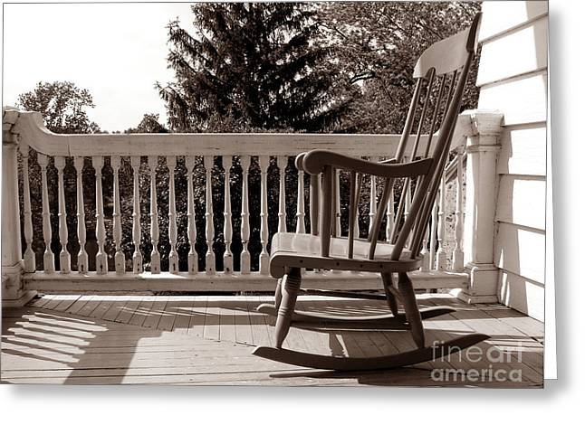 Armchair Greeting Cards - On the Porch Greeting Card by Olivier Le Queinec