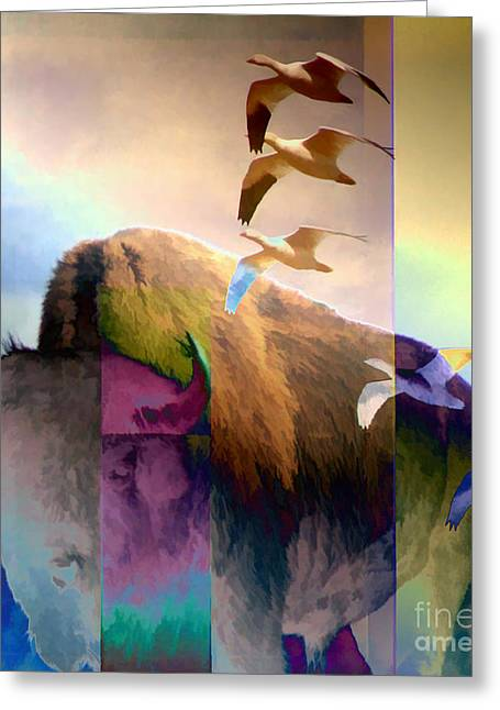 The American Buffalo Digital Art Greeting Cards - On the Prairie Greeting Card by Ursula Freer