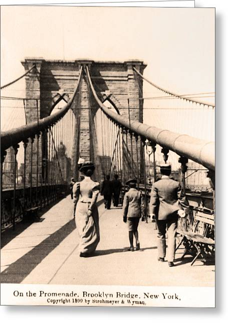 Brooklyn Promenade Greeting Cards - On the Promenade Brooklyn Bridge 1899 Greeting Card by Digital Reproductions