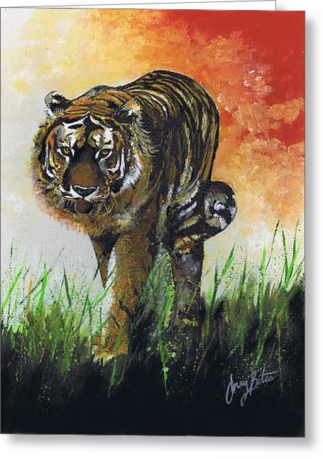 The Tiger Greeting Cards - On the Prowl Greeting Card by Jerry Bates