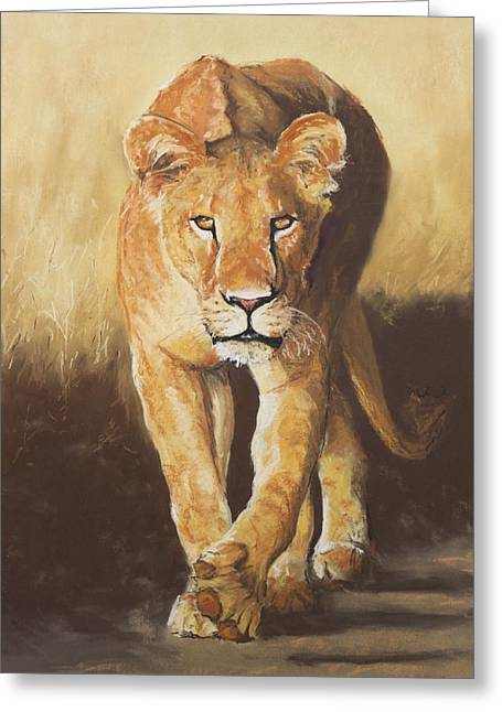 Actions Pastels Greeting Cards - On The Prowl Greeting Card by Slaine Walkerman