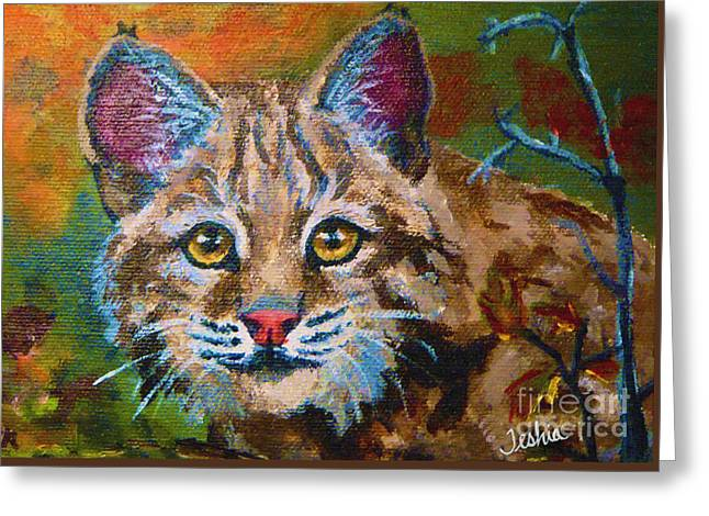 Bobcat Greeting Cards - On the Prowl Greeting Card by Teshia Art