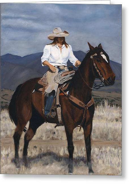 Arizona Cowgirl Greeting Cards - On the Range Greeting Card by Jack Atkins