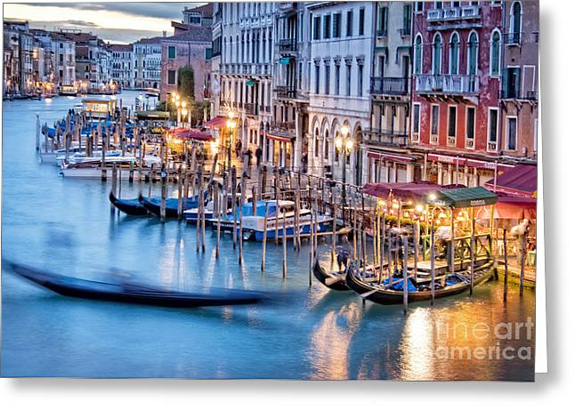 Italian Sunset Greeting Cards - On the Rialto Greeting Card by Delphimages Photo Creations