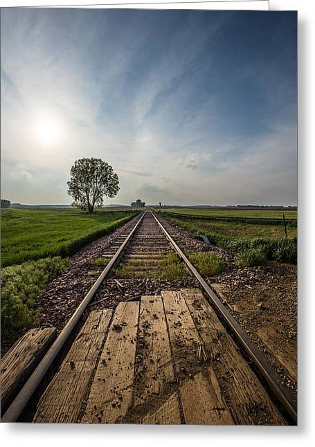 Railroad Greeting Cards - On the right track Greeting Card by Aaron J Groen