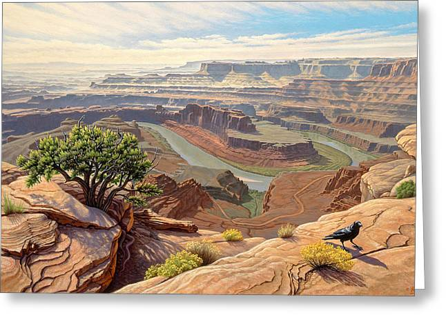 Ravens Greeting Cards - On The Rim-Dead Horse Point Greeting Card by Paul Krapf