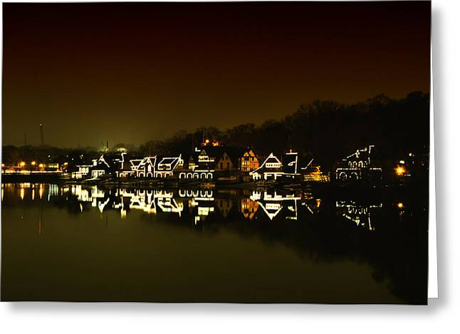 Phila Greeting Cards - On the River at Night -  Boathouse Row Greeting Card by Bill Cannon
