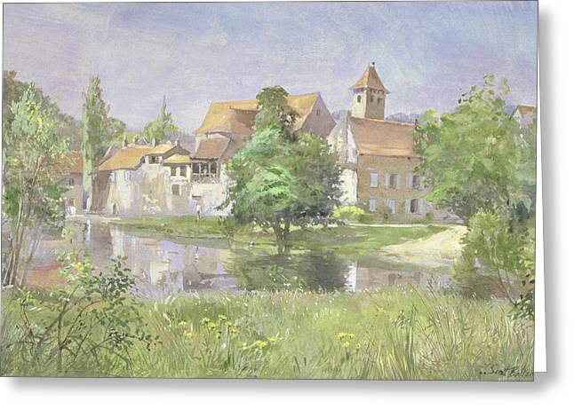 """south West France"" Greeting Cards - On The River Lot, 1991 Wc Greeting Card by Tim Scott Bolton"