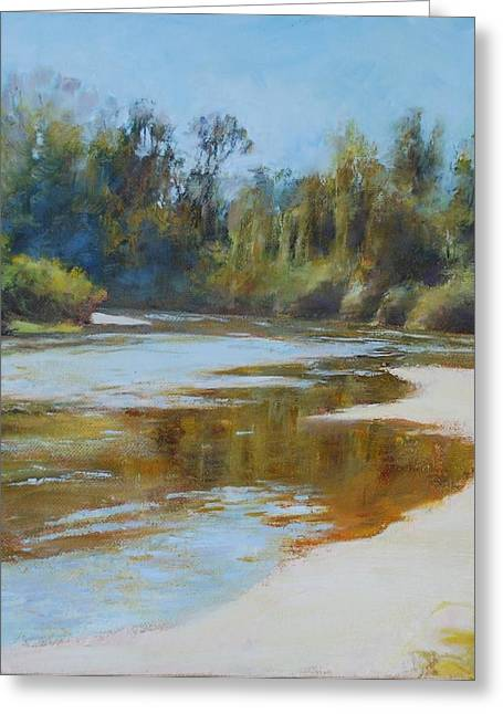 Original Art Greeting Cards - On The River Greeting Card by Nancy Stutes