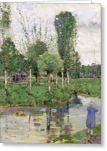 River Paintings Greeting Cards - On The River, Sainte-gertrude Greeting Card by John Quinton Pringle