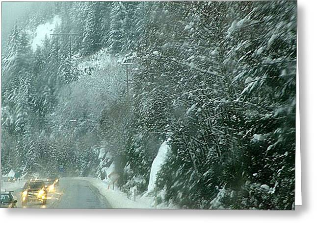 Winter Roads Mixed Media Greeting Cards - On The Road Again Greeting Card by Janet Ashworth
