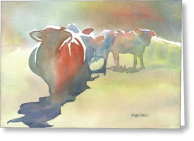 Steer Greeting Cards - On the Road Greeting Card by Kris Parins