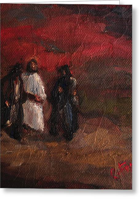 Jesus Thorns Greeting Cards - On the Road to Emmaus Greeting Card by Carole Foret