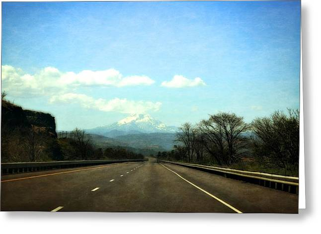 Roadway Digital Art Greeting Cards - On the Road to Mount Hood Greeting Card by Michelle Calkins