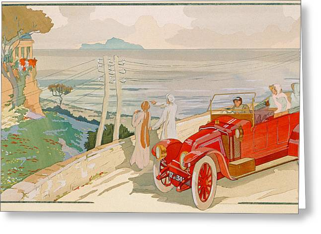 High Society Drawings Greeting Cards - On the road to Naples Greeting Card by Aldelmo