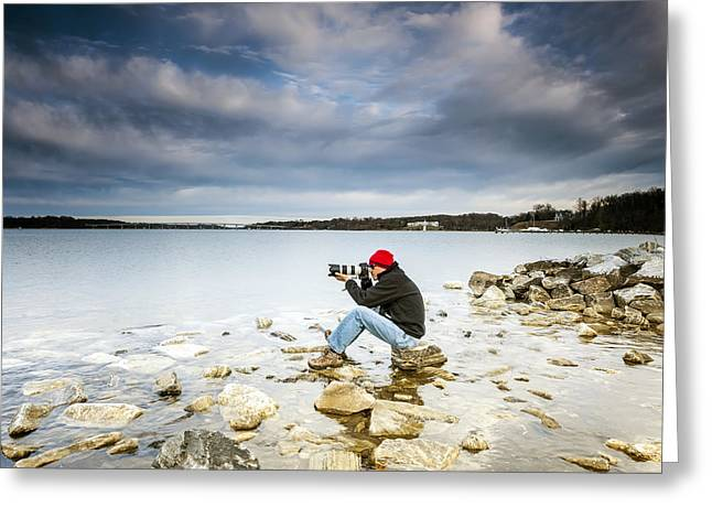 Self-portrait Photographs Greeting Cards - On The Rocks  Greeting Card by Edward Kreis