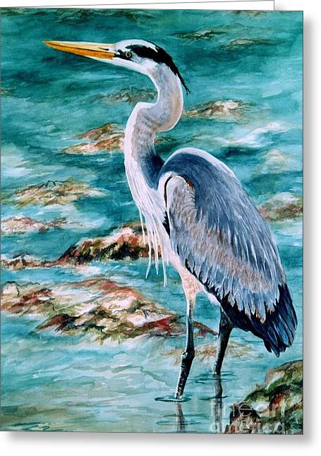 Cedar Key Greeting Cards - On the Rocks Great Blue Heron Greeting Card by Roxanne Tobaison