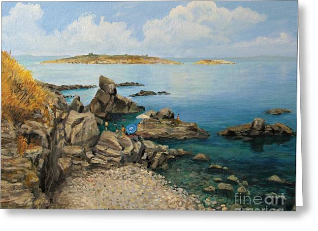 Bulgaria Paintings Greeting Cards - On The Rocks in The Old Part of Sozopol Greeting Card by Kiril Stanchev
