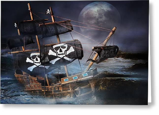 Pirates Greeting Cards - On The Rocks Greeting Card by Ronel Broderick