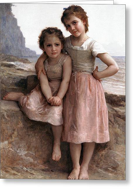 On The Beach Digital Greeting Cards - On the Rocky Beach Greeting Card by William Bouguereau