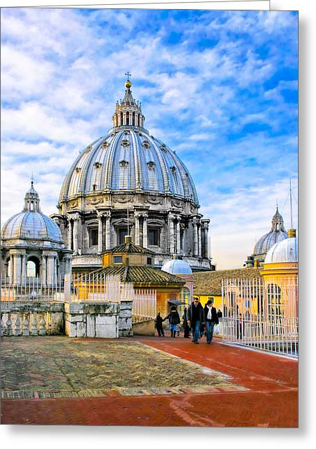 Basilica Di San Pietro Greeting Cards - On The Roof Of St Peters In Rome Greeting Card by Mark Tisdale