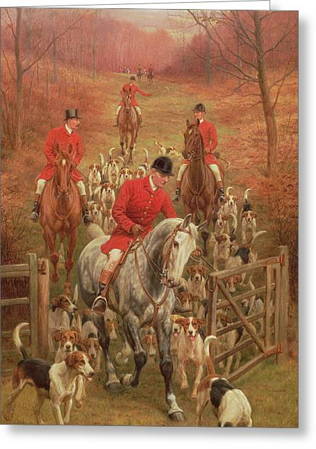 Foxhunting Greeting Cards - On The Scent, 1906 Oil Greeting Card by Edward Algernon Stuart Douglas