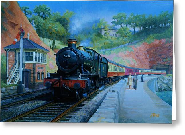 Trains Paintings Greeting Cards - On the sea wall. Greeting Card by Mike  Jeffries