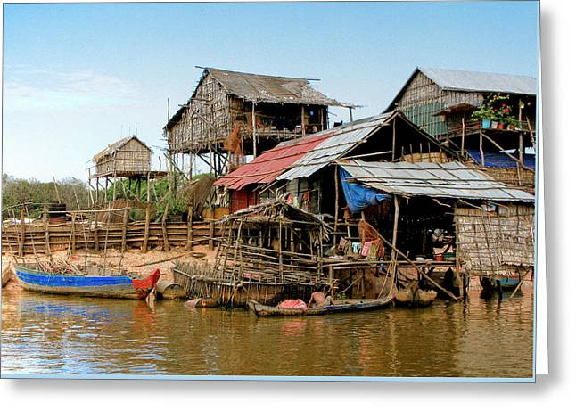 Bamboo House Photographs Greeting Cards - On the Shores of Tonle Sap Greeting Card by Douglas J Fisher