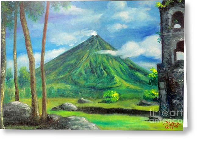 Manuel Cadag Greeting Cards - On the spot painting of Mayon in Cagsawa Greeting Card by Manuel Cadag