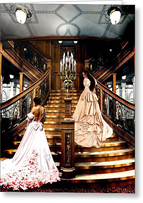 Staircase Mixed Media Greeting Cards - On the Staircase of Titanic Greeting Card by Amanda Struz