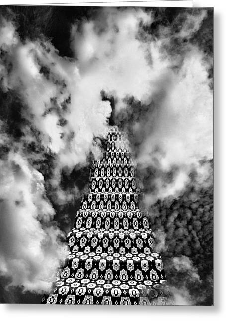 Surreal Geometric Greeting Cards - ON THE STAIRWAY TO HEAVEN BW Palm Springs Greeting Card by William Dey