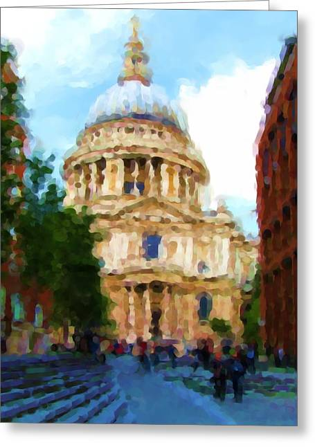 On The Steps Of Saint Pauls Greeting Card by Jenny Armitage