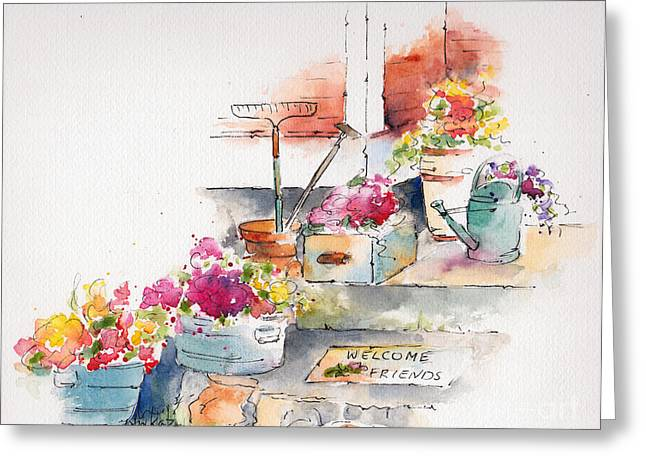Stoops Greeting Cards - On The Stoop Greeting Card by Pat Katz
