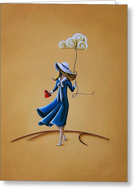 Girls Paintings Greeting Cards - On The Street Where You Live Greeting Card by Cindy Thornton