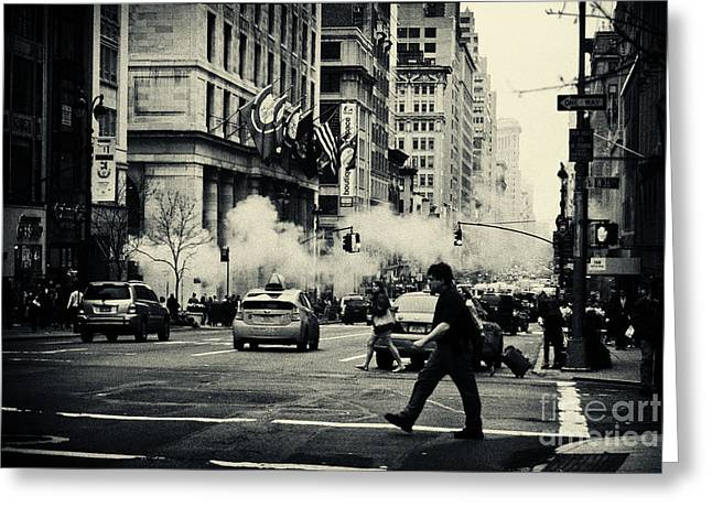 Filmnoir Greeting Cards - On the Streets of New York 2 Greeting Card by Sabine Jacobs