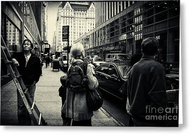 Filmnoir Greeting Cards - On the Streets of New York Greeting Card by Sabine Jacobs