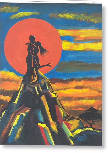 Emmanuel Baliyanga Greeting Cards - On The Summit of Love Greeting Card by Emmanuel Baliyanga