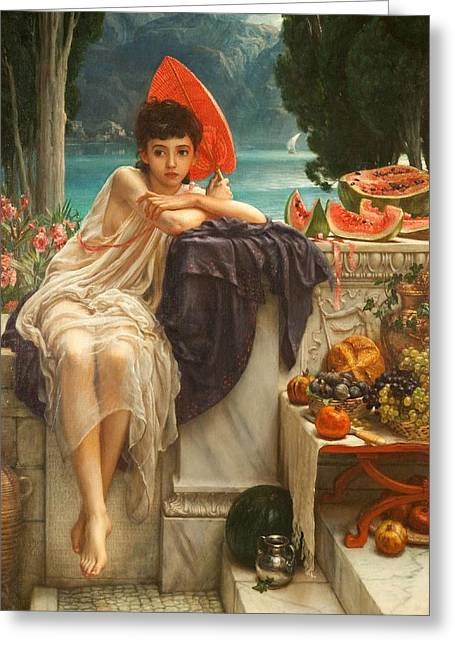 Watermelon Greeting Cards - On The Temple Steps, 1889 Greeting Card by Sir Edward John Poynter