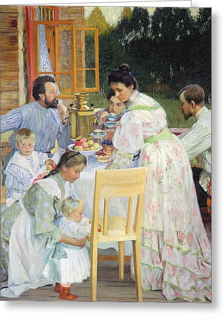 Domestic Scene Greeting Cards - On The Terrace, 1906 Oil On Canvas Greeting Card by Boris Mikhailovich Kustodiev