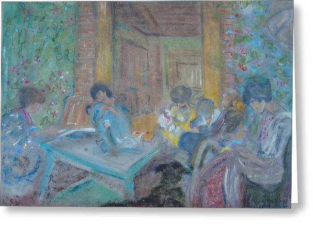 Conversations Pastels Greeting Cards - On the Terrace Greeting Card by Karen Coggeshall