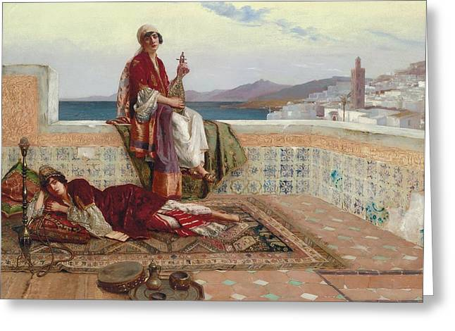 Stringed Instrument Greeting Cards - On the Terrace Tangiers Greeting Card by Rudolphe Ernst