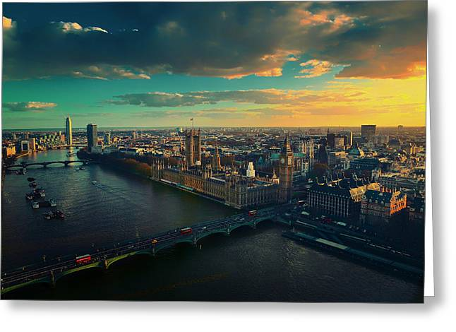 Recently Sold -  - Historic Ship Greeting Cards - On the Thames at Sunset Greeting Card by Mountain Dreams