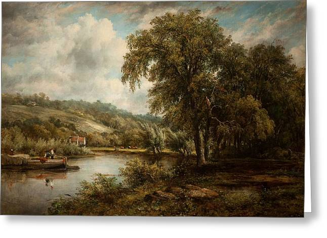 River Scenes Paintings Greeting Cards - On The Thames Greeting Card by George Frederick Watts