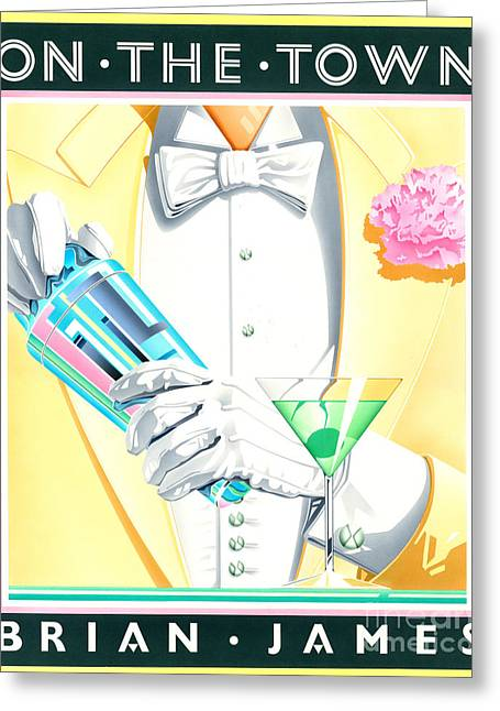Men Drinking Greeting Cards - On The Town Greeting Card by Brian James